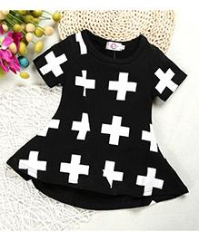 Superfie Plus Print Dress - Black & White