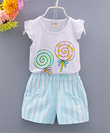 Pre Order : Superfie Candy Print Top & Stripe Short Set - Blue