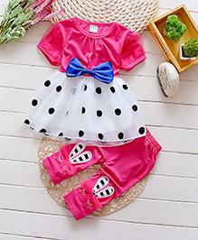 Pre Order : Superfie Polka Dot Dress With Leggings Set - Pink