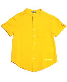 One Friday Classy Mandarin Collar Shirt - Mustard