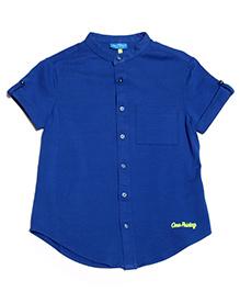 One Friday Classy Mandarin Collar Shirt - Electric Blue