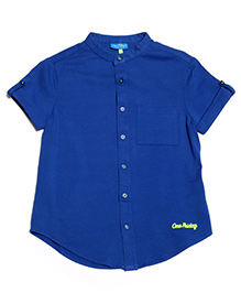 One Friday Classy Mandarin Collar Shirt - Electric Blue