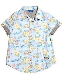 One Friday Casual Floral Print Shirt - Mint Blue