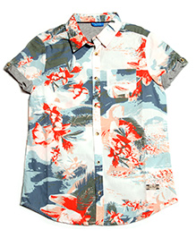 One Friday Floral Print Casual Shirt - Orange