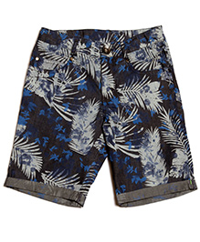 One Friday Denim Printed Shorts - Blue