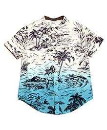 One Friday Beach Print Shirt - Blue