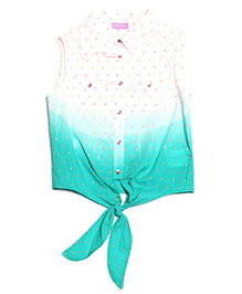 One Friday Neon Dot Tie Dye Top - Blue