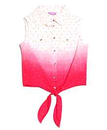 One Friday Neon Dot Tie Dye Top - Pink