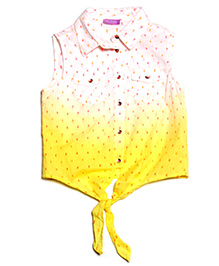 One Friday Neon Dot Tie Dye Top - Yellow