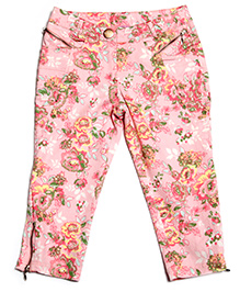 One Friday Printed Skinny Soft Trouser - Coral Pink