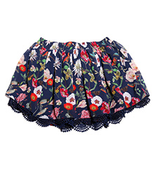 One Friday Floral Printed Lace Skirt - Blue