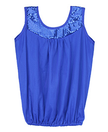 Patch Bunnies Sleeveless Top Sequin Work - Royal Blue