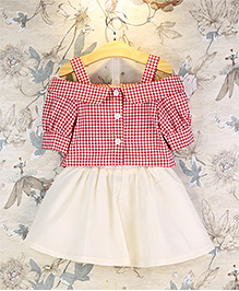 Pre Order : Tiny Closet Princess Off-Shoulder Top & Skirt Set - Cream & Red