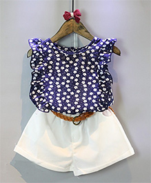 Pre Order : Tiny Closet Top & Shorts Set - Blue & White