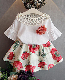 Pre Order : Tiny Closet Flower Top & Skirt Set - Red & Cream