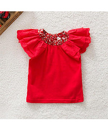 Pre Order : Tiny Closet Cute Floral Top - Red