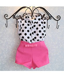Pre Order : Tiny Closet Polka Dot Shirt & Shorts Set - Pink & White