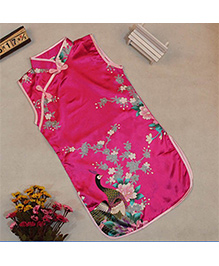 Pre Order : Tiny Closet Sleeveless Chinese Traditional Dress - Hot Pink
