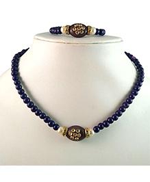 Tiny Closet Kundan Stone Necklace & Bracelet Set - Purple