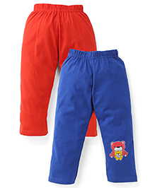 Babyhug Knitted Leggings With Multi Print Pack Of 2 - Royal Blue & Red
