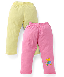 Babyhug Knitted Leggings With Multi Print Pack Of 2 - Pink & Yellow