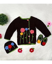 The Original Knit Sweater Cap & Booties Set - Dark Brown