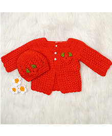 The Original Knit Open-Front Sweater & Cap Set - Red