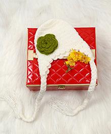 The Original Knit Cap - Off White & Green