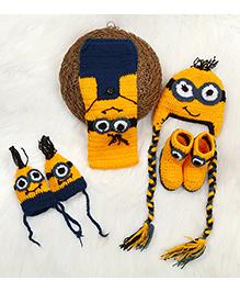 The Original Knit Muffler Mittens Cap & Booties Set - Yellow