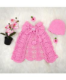The Original Knit Poncho & Cap Set - Rose Pink