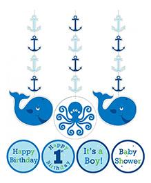 Planet Jashn Ocean Preppy Birthdat Cutout Hanging Blue - Pack Of 3