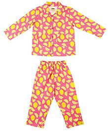 Hugsntugs Lemon Print Night Suit - Pink