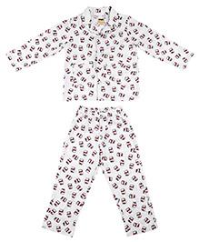 Hugsntugs Chocolate Spread Print Night Suit - White & Brown