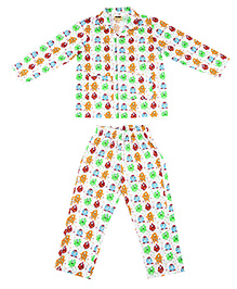 Hugsntugs Monster Print Night Suit - Multicolour