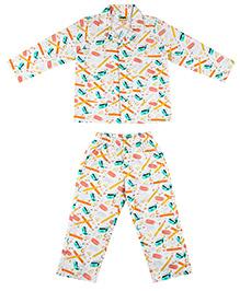 Hugsntugs Pencil Sharpner & Eraser Print Night Suit - Multicolour