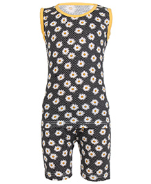 Earth Conscious Sleeveless Organic Cotton Night Suit Floral Print - Black and Yellow