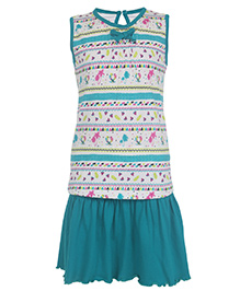 Earth Conscious Sleeveless Organic Cotton Top and Skirt Set Multi Print - White and Green