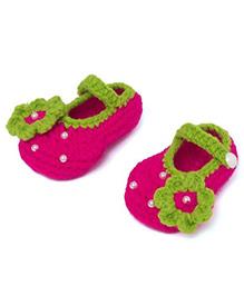 Pikaboo Pearl Studded Crochet Booties - Dark Pink