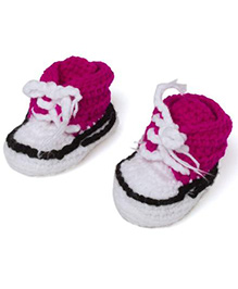 Pikaboo White Pink Crochet Shoes With Lace - White And Pink