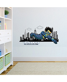 Chipakk Flying Chakra The Invincible With Cityscape Wall Sticker Multi Color - Medium