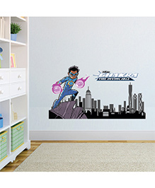 Chipakk Chakra The Invincible With Cityscape Wall Sticker Multicolor - Medium