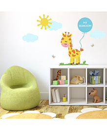 Chipakk My Badroom Giraffe HD Kids Room Wall Decal - Blue & Yellow