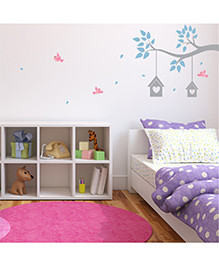 Chipakk Branch & Love Birds House HD Kids Room Wall Decal - Blue Pink Grey