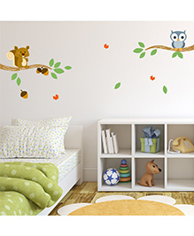 Chipakk Squirrel & Owl On Branch HD Kids Room Wall Decal - Green Blue Brown