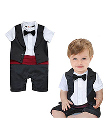 Pre Order : Petite Kids Band Party Romper Suit - Black & Red