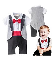 Pre Order : Petite Kids Band Party Romper Suit - White & Black