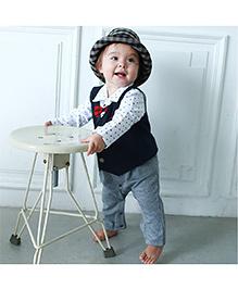 Pre Order : Petite Kids Party Romper Suit With Bowtie - Navy Blue