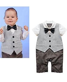 Pre Order : Petite Kids Romper Suit With Bowtie - Brown