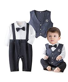 Pre Order : Petite Kids Check Baby Boy Romper Suit - Navy