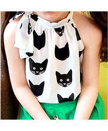 Kuddle Kids Cat Print Halter Neck Top - White & Black